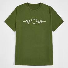 Men Electrocardiogram Print Tee