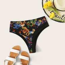 Bikini Hoschen Set mit Drachen Muster und hoher Taille