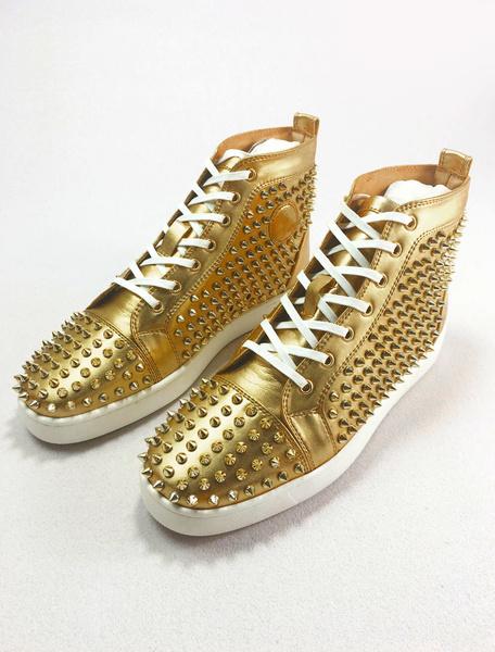 Milanoo Zapatos de tacon alto de cuero de los hombres de cuero Zapatos de tacon alto de zapatillas de deporte