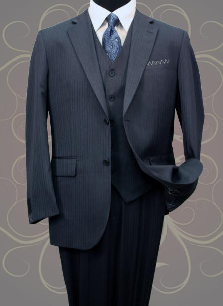 Mens Classic 3 Piece 2 Button Suit Navy with Single Pleated Pants