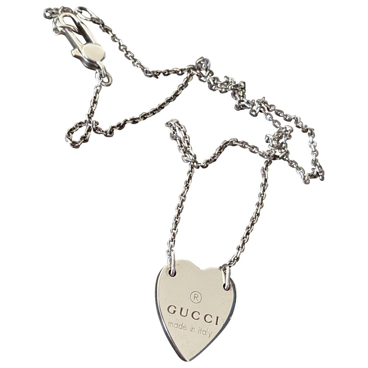 Gucci - Collier Dog Tag pour femme en argent - argente