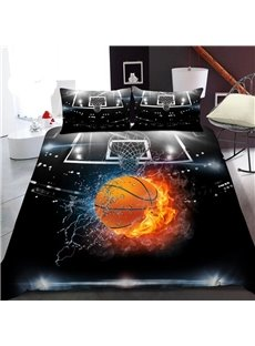 Basketball in Water And Fire 3D Printed Polyester 1-Piece Warm Quilt