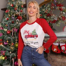 Camiseta de manga raglan con estampado de Navidad y slogan