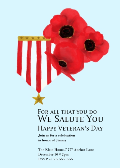 Veterans Day Cards Flat Matte Photo Paper Cards with Envelopes, 5x7, Card & Stationery -We Salute You