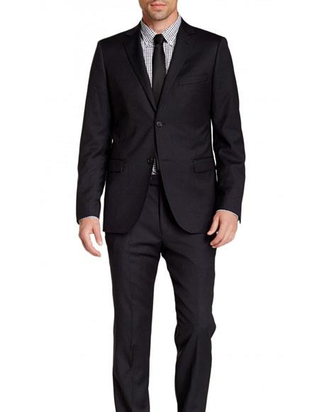 Mens Navy Blue 2 Button Pinstriped Wool Slim Fit Suit