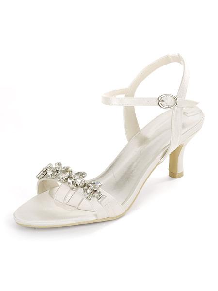 Milanoo Zapatos de novia de raso Zapatos de novia de tacon de diamantes de imitacion de punta abierta azul Zapatos de novia