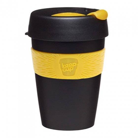 "Kaffee Tasse KeepCup ""Black/Yellow"", 340 ml"