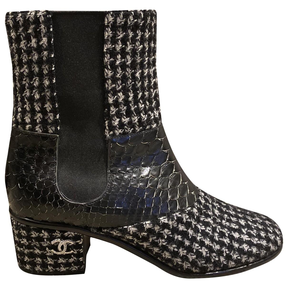 Chanel - Boots   pour femme en python - noir