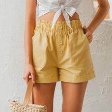 Simlpee Shorts mit Knopfen vorn und Taschen Flicken Detail