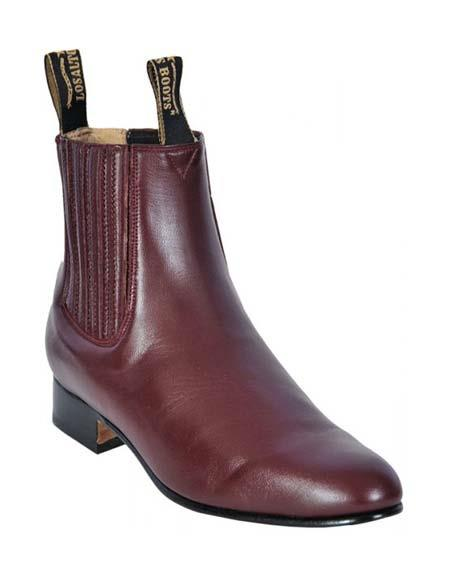 Los Altos Men's Genuine Deer Charro Leather Sole Short Boot Burgundy