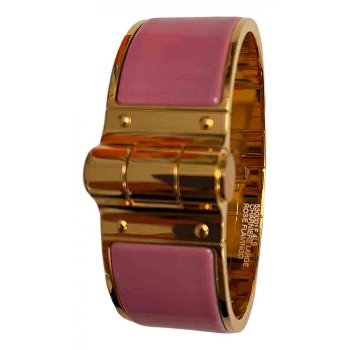 Hermes Bracelet Charniere Armband in  Rosa Metall