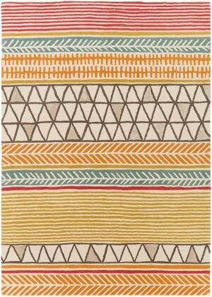 SCI33-58 5' x 8' Rug  in Burnt Orange and Bright Red and Dark Brown and Mustard and Aqua and