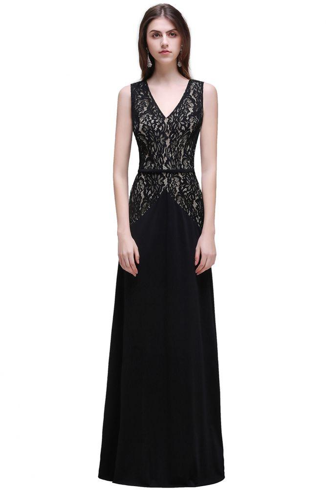 BRYANNA | A-line V-Neck Long Lace Black Prom Dresses with Sash