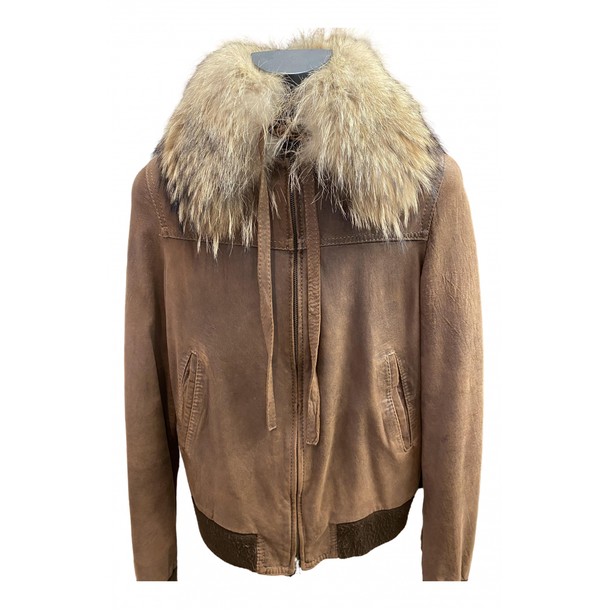 Non Signé / Unsigned \N Brown Leather Leather jacket for Women 42 IT