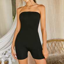 Solid Tube Unitard Romper