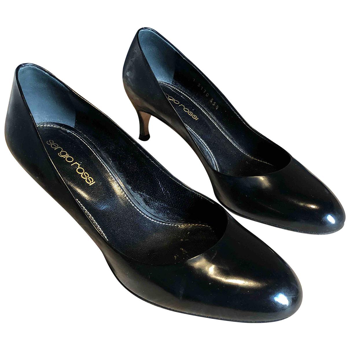 Sergio Rossi N Black Leather Heels for Women 35.5 IT