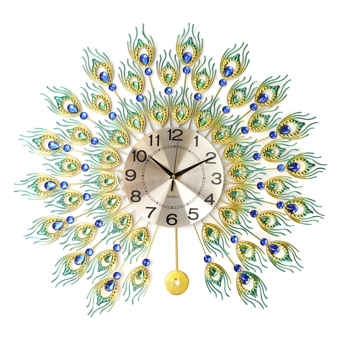 DIY 3D Metal Peacock Wall Clock Crystal Diamond Clocks Watch Ornaments Home Living Room Hotel Decor Crafts Gift Large 70