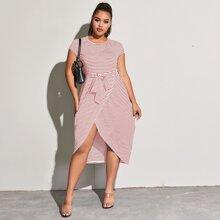 Kleid mit Streifen, Tulpensaum und Guertel