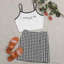 Letter Graphic Cami Top & Split Hem Gingham Skirt Set