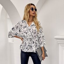 All Over Print Babydoll Blouse