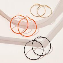 Pendientes de aro con diseño sencillo 3 pares
