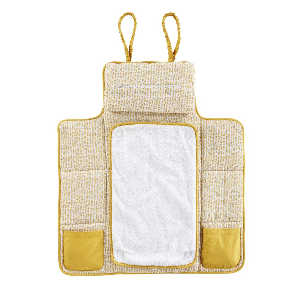 Reise-Wickelauflage aus Baumwolle, weiss und senfgelb, bedruckt