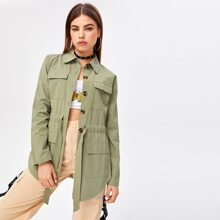 Flap Pocket Belted Outerwear