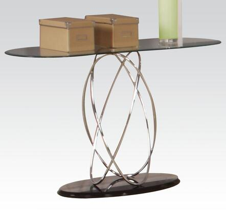 Deron Collection 80800 47 Sofa Table with 8mm Tempered Clear Glass Top  High Gloss Base and Steel Tube Frame in Chrome and Black