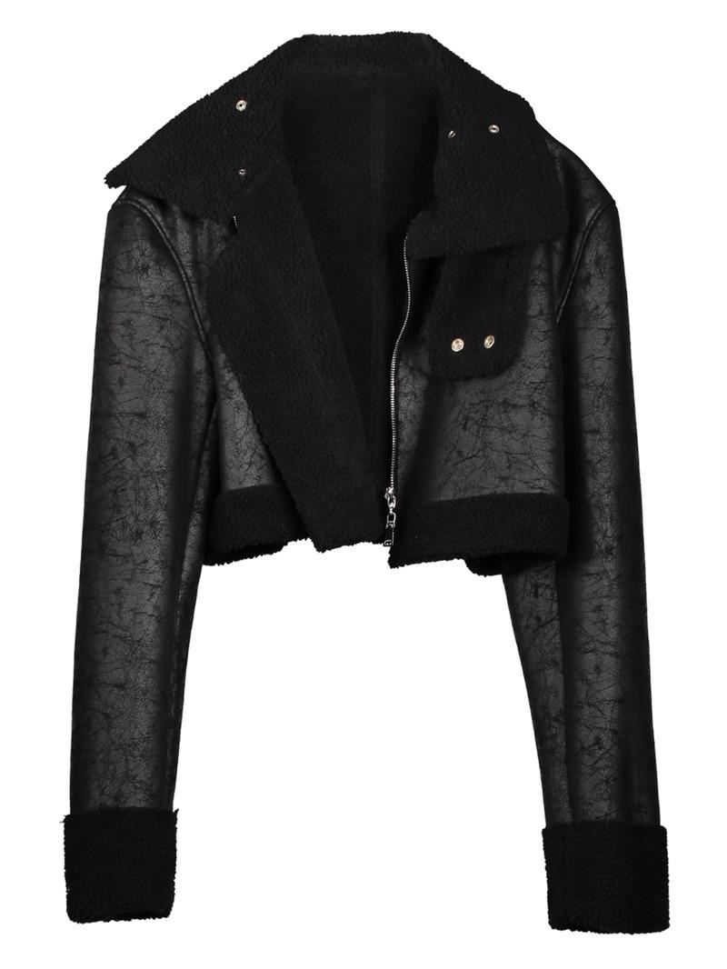 Ericdress Short Zipper Slim PU Jacket