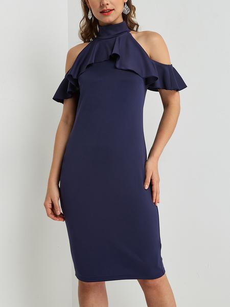 Yoins Navy Flounced Cold Shoulder Dress