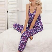 Feather Print Pants Pajama Set