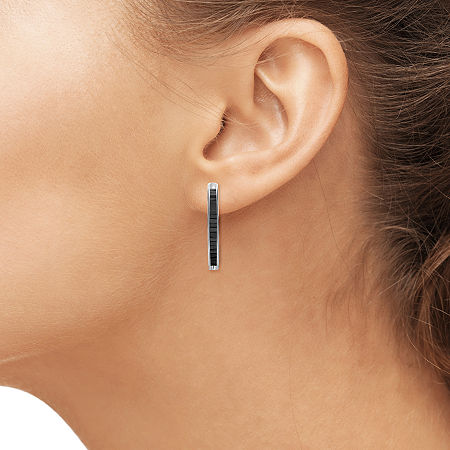 Sterling Silver Genuine Black Diamond Hoop Earrings, One Size , No Color Family