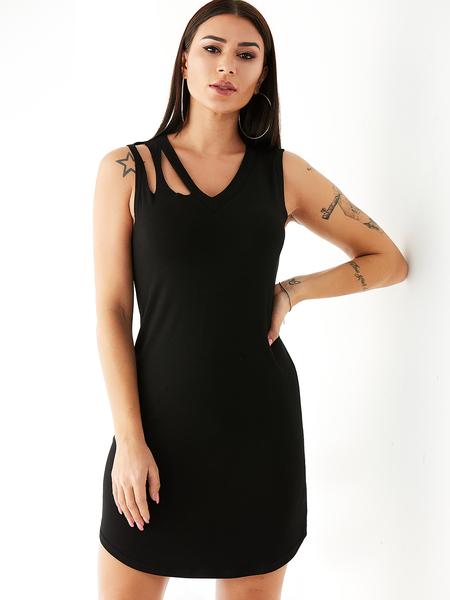 YOINS Black Random Ripped Details V-neck Sleeveless Dress