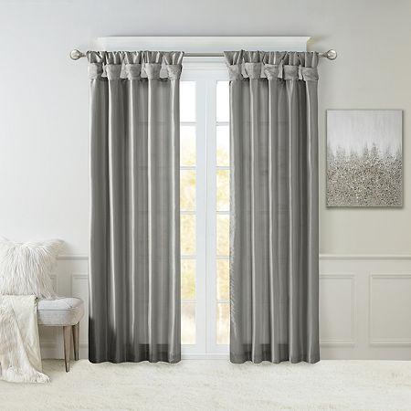 Madison Park Natalie Twisted Tab Light-Filtering Tab-Top Single Curtain Panel, One Size , Black