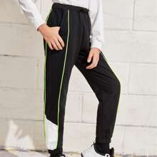 Boys Knot Waist Contrast Piping Colorblock Joggers