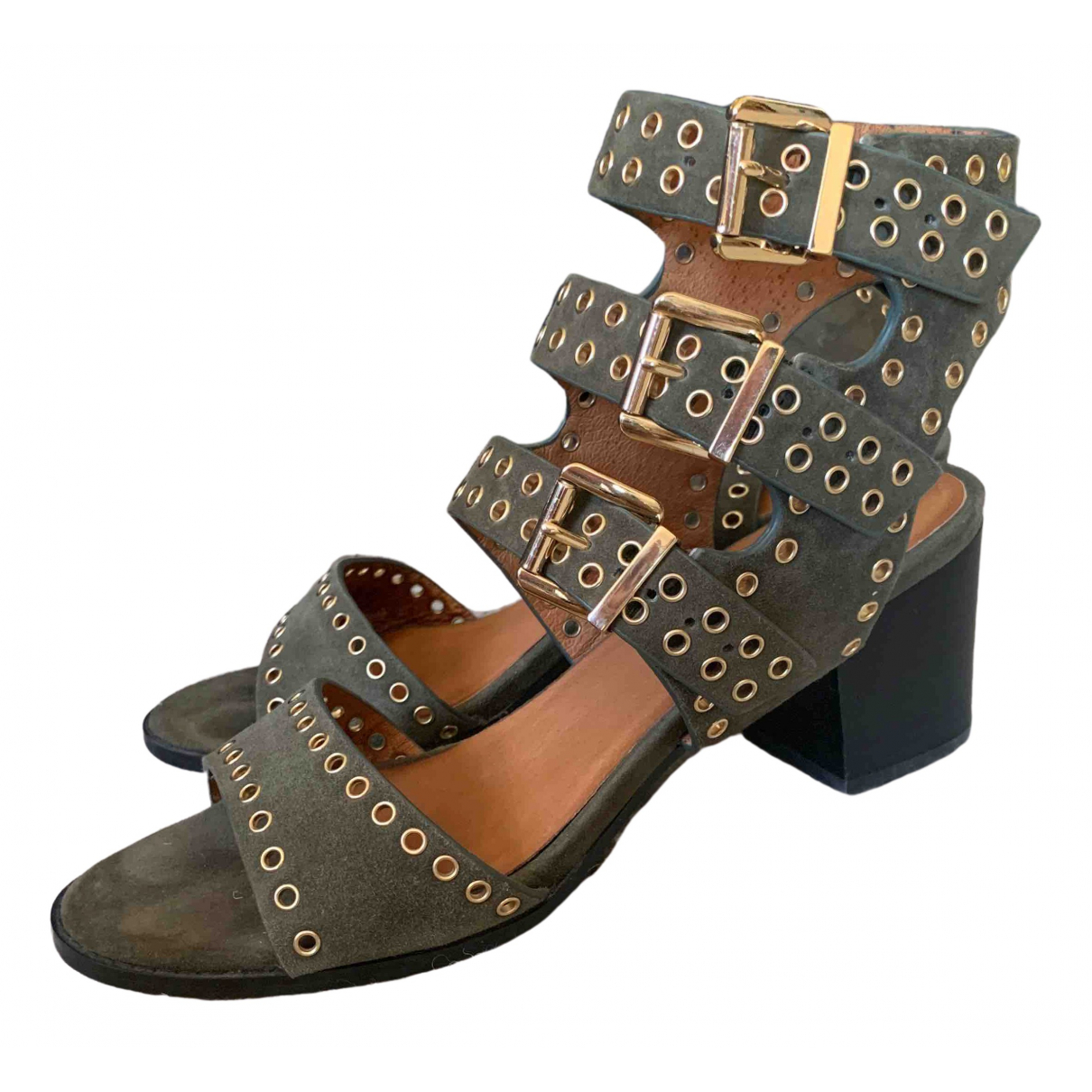 Non Signé / Unsigned \N Khaki Leather Sandals for Women 39 EU