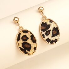 Leopard Oval Drop Earrings