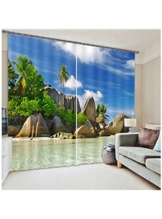 3D Palm Trees and Beach Printed Beautiful Seaside Scenery Thick Polyester Custom Blackout Curtain
