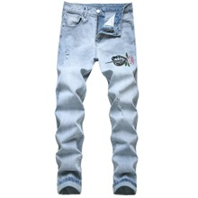 Guys Rose Embroidery Jeans