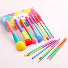 15 piezas set cepillo de maquillaje de color combinado