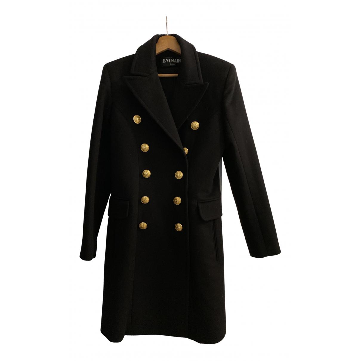 Balmain N Black Wool coat for Women 40 FR
