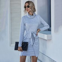 High Neck Dual Pocket Belted Fitted Dress