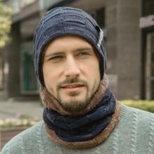 1pc Men Knit Hat & 1pc Infinity Scarf
