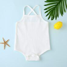 Baby Girl Rib-Knit Criss Cross Cami Bodysuit