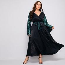 Plus Floral Surplice Front Belted Maxi Dress