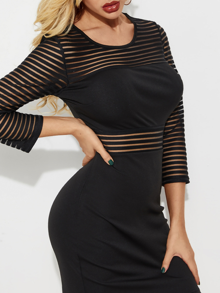 YOINS Black Striped Mesh Patchwork Round Neck Dress
