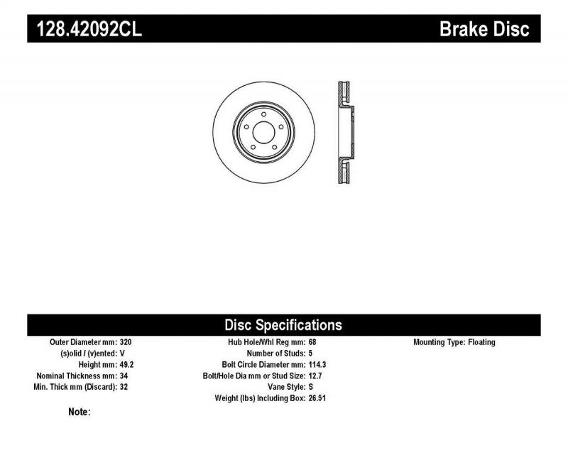 StopTech 128.42092CL Sport Cryo Cross Drilled Brake Rotor; Front Left Infiniti FX Series Front Left 2005-2011