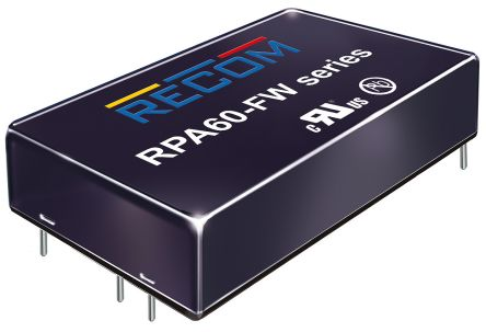 Recom RPA60-FW 60W Isolated DC-DC Converter Through Hole, Voltage in 9 → 36 V dc, Voltage out 12V dc Railway