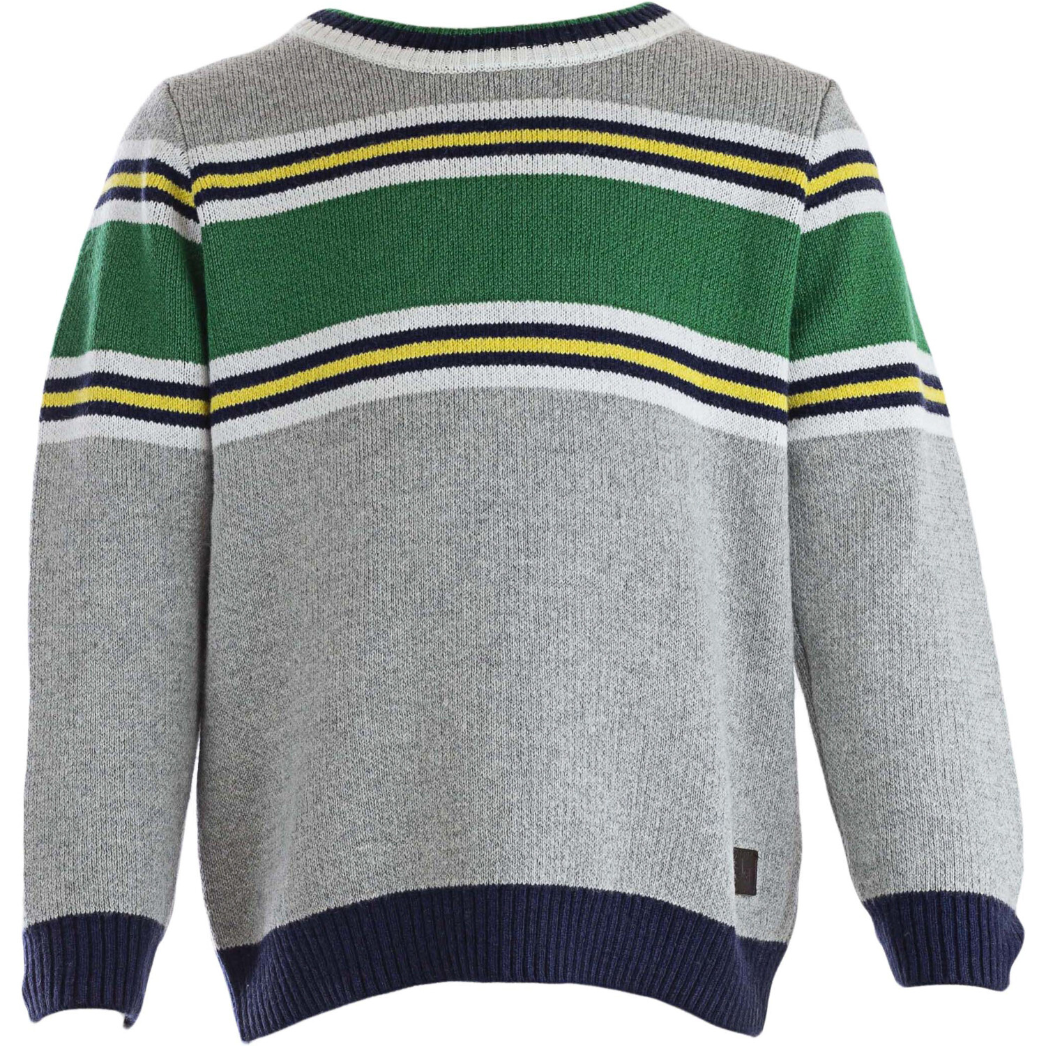 Janie And Jack Grey / Green White Yellow Black Colorblocked Crewneck Sweater - 6-12 Months