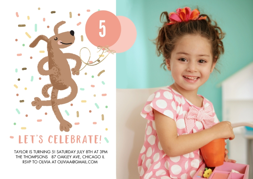Kids Birthday Party 5x7 Cards, Premium Cardstock 120lb with Scalloped Corners, Card & Stationery -Birthday Party Dancing Dog by Tumbalina